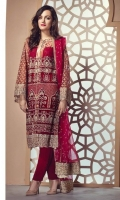 Embroidered Net Front – 0.8m Embroidered Net Back – 1.25m Embroidered Net sleeves – 0.65m Embroidered Net Dupatta – 2.5m Embroidered Front Border – 0.75m Embroidered Dupatta Border – 2.5m  Raw Silk Trouser – 2.5m