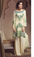 Embroidered Front Centre Panel– 1pc Embroidered Front Side Panels – 2pcs Embroidered Chiffon Back– 1.25 m Embroidered Chiffon Sleeves – 0.65m Embroidered Chiffon Dupatta – 2.5m Embroidered Organza Neck line – 1pc Embroidered Front border – 0.75m  Raw Silk Trouser – 2.5m