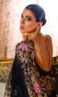 Addah: This sophisticated yet festive design Addah is a pure black chiffon saree set that embodies femininity and grace like none other. It is hand-embellished with our finest sequins, eloquent beads, original Swarovski crystals, striking stones and elegant French knots. The stunning saree comes with a Raw Silk blouse.  6.5 meters Pure Crinkle Chiffon 1.5 meters Rawsilk Blouse