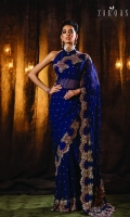 Gulrukh a royal navy blue pure crinkle chiffon saree that projects our signature artisan craftsmanship and design sensibilities in the most ornate manner. Opulently embroidered with the finest resham thread and tilla and embellished with dabka, naqshi, beads, sequins, and original Swarovski crystals, this saree comes with a Rawsilk blouse.  6.5 meters Pure Crinkle Chiffon  1.5 meters Rawsilk Blous