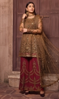 Shirt Front & Back  Sequins Embroidered Net  Sleeves  Sequins Embroidered Net  Dupatta  Sequins Embroidered Net  Dupatta Lace  Contrast Sequins Embroidered  Sleeves Lace  Contrast Sequins Embroidered  Trouser  Embroidered Grip