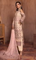 Shirt Front & Back  Embroidered Chiffon  Sleeves  Embroidered Chiffon  Dupatta  Contrast Embroidered Chiffon  Dupatta Pallu  Contrast Embroidered  Sleeves Lace  Contrast Embroidered  Trouser  Dyed Grip