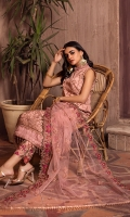 Shirt Front & Back  Embroidered Net  Sleeves  Embroidered Net  Dupatta  Embroidered Net  Front & Back Lace  Embroidered Organza  Sleeves Lace  Embroidered Organza  Trouser  Dyed Grip