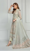 Shirt Front: Embroidered Chiffon  Shirt Back: Embroidered Chiffon  Sleeves: Embroidered Chiffon  Dupatta: Embroidered Pallu  Front & Back Lace: Embroidered Chiffon  Trouser Lace: Embroidered Chiffon  Trouser: Dyed Grip