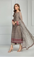 Shirt Front: Sequins Embroidered Chiffon  Shirt Back: Sequins Embroidered Chiffon  Sleeves: Sequins Embroidered Chiffon  Dupatta: Sequins Embroidered Two Side Border  Front & Back Lace: Contrast Grip  Sleeves Lace: Contrast Embroidered Chiffon  Trouser: Dyed Grip