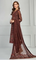 Shirt Front: Embroidered Chiffon  Shirt Back: Embroidered Chiffon  Neckline: Embroidered Silk Patch  Sleeves: Embroidered Chiffon  Dupatta: Embroidered Pallu  Front & Back Lace: Embroidered Lace  Sleeves Lace: Embroidered Lace  Trouser Lace: Embroidered Lace  Trouser: Dyed Grip