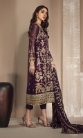 Shirt Front: Embroidered Chiffon  Shirt Back: Embroidered Chiffon  Sleeves: Embroidered Chiffon  Dupatta: Embroidered Chiffon  Front & Back Lace: Contrast Embroidered  Sleeves Lace: Contrast Embroidered  Trouser: Dyed Grip