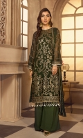 Shirt Front:  Sequins Embroidered Chiffon  Shirt Back:  Sequins Embroidered Chiffon  Sleeves:  Embroidered Chiffon  Dupatta:  Embroidered Chiffon  Sleeves Lace:  Sequins Embroidered  Front & Back Lace:  Sequins Embroidered  Trouser:  Dyed Grip