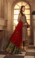 Shirt Front:  Embroidered Chiffon  Shirt Back:  Embroidered Chiffon  Sleeves:  Embroidered Chiffon  Dupatta:  Embroidered Chiffon  Dupatta Pallu:  Contrast Embroidered Chiffon  Sleeves Lace:  Contrast Embroidered Grip  Front & Back Lace:  Contrast Embroidered Grip  Trouser:  Dyed Grip