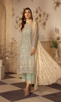 Shirt Front:  Sequins Embroidered Chiffon  Shirt Back:  Sequins Embroidered Chiffon  Sleeves:  Sequins Embroidered Chiffon  Dupatta:  -Embroidered Chiffon  -Four Side Sequins Lace  Sleeves Lace:  Contrast Sequins Embroidered  Trouser Lace:  Contrast Sequins Embroidered  Trouser:  Dyed Grip