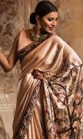 Blouse:   Dyed Rawsilk Blouse Cut work Embroidered Border  Saree:  Digital Printed Charmeuse Silk Saree