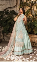 Shirt:  Embroidered Hand Embellished Organza Front Panels Embroidered Organza with Sequence Back Embroidered Organza with Sequence Sleeves Embroidered Organza with Sequence Side Panels Embroidered Hand Embellished Neck Embroidered Hand Embellished Back Motif Embroidered Hand Embellished Sleeves Motifs Embroidered Daman Border Embroidered Sequence Daman Border Dyed Cotton Silk Lining Trouser:  Dyed Self Jamawar Trousers Dupatta:  Embroidered Dupatta Border Dyed Pearl Dupatta