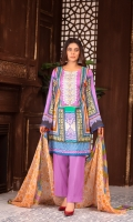 Digital Printed With Embroidered Lawn Front Digital Printed Lawn Back Digital Printed Lawn Sleeves Digital printed Chiffon Dupatta Dyed Cotton Trouser