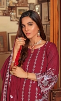 Embroidered Chiffon Front Embroidered Chiffon Back Embroidered Chiffon Sleeve Embroidered Chiffon Dupatta Raw Silk Dyed Trouser