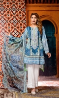 Digital Printed & Embroidered Lawn Front  Digital Printed Lawn Back  Digital Printed Lawn Sleeves  Digital Printed Chiffon Dupatta  Dyed Cotton Trouser