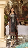 Digital printed and Embroidered Lawn Front Digital Printed Lawn Back Digital Printed Lawn Sleeves Digital Printed Chiffon Dupatta Dyed Cotton Trouser With Embroidered Patch