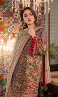 Hand Embellished Embroidered Chiffon Front Embroidered Chiffon Back Embroidered Chiffon Sleeves Embroidered Chiffon Dupatta Dyed Raw silk Trouser