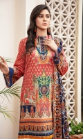 Digital Printed & Embroidered Lawn Front  Digital Printed Lawn Back  Digital Printed Lawn Sleeves  Schiffli Embroidered Chiffon Dupatta  Dyed Plan Cotton trouser