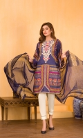 Digital and Embroidered Lawn Front  Digital Printed  Lawn Back   Digital Printed Chiffon Dupatta  Dyed Cotton Trouser