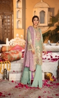 Front : Embroidered Chiffon Hand Embellished (0.8 M) Back: Embroidered Chiffon (0.8 M) Sleeves: Embroidered Chiffon (0.66 M) Dupatta: Embroidered Chiffon (2.5 M) Trouser: Raw silk (2.5 Y)...