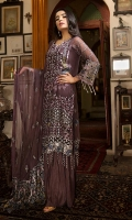 EMBROIDERED CHIFFON FRONT WITH H .M  WORK1 YDS EMBROIDERED CHIFFON BACK1 YDS EMBROIDERED CHIFFON SLEEVES0.67 YDS EMBROIDERED GHERA LACE2 YDS EMBROIDERED SLEEVE LACE2 YDS EMBROIDERED CHIFFON DUPATTA2.5 YDS GRIP SILK TROUSER2.5 YDS