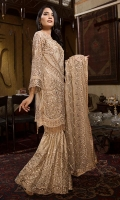 EMBROIDERED CHIFFON FRONT WITH HANDMADE WORK1 YDS EMBROIDERED CHIFFON BACK WITH CRYSTAL STONE1 YDS EMBROIDERED CHIFFON SLEEVES0.67 YDS EMBROIDERED SLEEVE LACE0.67 YDS EMBROIDERED CHIFFON DUPATTA WITH CRYSTAL STONE2.5 YDS EMBROIDERED GRIP SILK TROUSER2.5 YDS