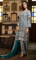 EMBROIDERED CHIFFON FRONT WITH HANDMADE WORK1 YDS EMBROIDERED CHIFFON BACK1 YDS EMBROIDERED CHIFFON SLEEVES0.67 YDS EMBROIDERED TILLA MOTIF FOR SLEEVES2 PCS EMBROIDERED GHERA LACE2 YDS EMBROIDERED CHIFFON DUPATTA2 .5 YDS EMBROIDERED GRIP SILK TROUSER2 .5 YDS