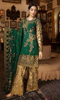EMBROIDERED CHIFFON FRONT WITH HANDMADE WORK1 YDS EMBROIDERED CHIFFON BACK1 YDS EMBROIDERED CUT WORK SLEEVES0.67 YDS EMBROIDERED SLEEVES LACE1 YDS EMBROIDERED GHERA LACE2 YDS EMBROIDERED CHIFFON DUPATTA2.5 YDS EMBROIDERED  GRIP SILK TROUSER2.5 YDS
