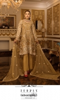 EMBROIDERED CHIFFON FRONT CENTER PANAL.              24 INCH  EMBROIDERED CHIFFON LEFT & RIGHT PANAL.                24 INCH  EMBROIDERED CHIFFON BACK.          1 YDS  EMBROIDERED CHIFFON SLEEVES.        0.67 YDS  EMBROIDERED GHERA LACE.             2.7 YDS  EMBROIDERED SLEEVES LACE.        1 YDS  EMBROIDERED CHIFFON DUPATTA.            2.5 YDS  GRIP SILK TROUSER.          2.5 YDS
