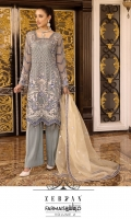 EMBROIDERED CHIFFON FRONT WITH H.M WORK.              1 YDS  EMBROIDERED CHIFFON BACK.            1 YDS  EMBROIDERED CHIFFON SLEEVES.          0.67 YDS  EMBROIDERED GHERA LACE.            2 YDS  EMBROIDERED AURGENZA FOUR SIDE BODER READY.          2.5 YDS  DUPATTA GRIP SILK TROUSER.            2.5 YDS