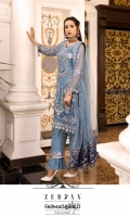 EMBROIDERED CHIFFON FRONT.    1 YDS  EMBROIDERED CHIFFON BACK.        1 YDS  EMBROIDERED CHIFFON SLEEVES.           0.67 YDS  EMBROIDERED GHERA LACE.          2 YDS  EMBROIDERED NET DUPATTA.            2.5 YDS  EMBROIDERED DUPATTA PALLU.      2 PCS  GRIP SILK TROUSER.        2.5 YDS  EMBROIDERED TROUSER LACE.        1 YDS