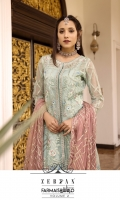 EMBROIDERED AURGENZA LEFT RIGHT PANAL WITH CRYSTAL STONE WORK.          2 PCS  EMBROIDERED AURGENZA BACK.            1 YDS  EMBROIDERED BACK LACE.              1 YDS  EMBROIDERED AURGENZA SLEEVES.                0.67 YDS  EMBROIDERED SLEEVES LACE.            1 YDS  EMBROIDERED CHIFFON DUPATTA.                2.5 YDS  GRIP SLIK TROUSER / INNER.                    5 YDS