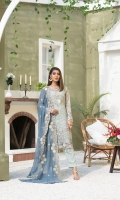EMBROIDERED AURGENZA FRONT.  1 YDS  EMBROIDERED AURGENZA BACK.  1 YDS  EMBROIDERED AURGENZA SLEEVES.  0.67 YDS  EMBROIDERED GHERA LACE.  2 YDS  EMBROIDERED SLEEVES LACE    1 YDS  EMBROIDERED WEIGHTLESS CHIFFON DUPATTA.    2 .5 YDS  GRIP SILK TROUSER.    2.5 YDS