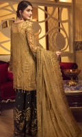 EMBROIDERED CHIFFON FRONT WITH HANDMADE WORK  EMBROIDERED GALA WITH HANDMADE WORK  EMBROIDERED CHIFFON BACK WITH HANDMADE WORK  EMBROIDERED CHIFFON SLEEVES WITH HANDMADE WORK