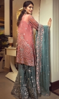 EMBROIDERED CHIFFON FRONT WITH HANDMADE WORK  EMBROIDERED GALA WITH HANDMADE WORK  EMBROIDERED CHIFFON BACK  EMBROIDERED CHIFFON SLEEVES HANDMADE WORK  EMBROIDERED GHERA LACE  EMBROIDERED SLEEVE LACE  EMBROIDERED CHIFFON DUPATTA  EMBROIDERED NET SHARARA GRIP SILK TROUSER