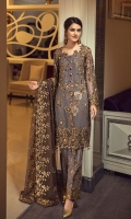 EMBROIDERED CHIFFON FRONT WITH HANDMADE WORK  EMBROIDERED CHIFFON BACK  EMBROIDERED CHIFFON SLEEVES WITH HANDMADE WORK  EMBROIDERED GHERA LACE  EMBROIDERED SLEEVE LACE  EMBROIDERED CHIFFON DUPATTA  EMBROIDERED GRIP SILK TROUSE