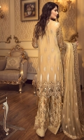 EMBROIDERED CHIFFON FRONT WITH HANDMADE WORK  EMBROIDERED CHIFFON BACK  EMBROIDERED CHIFFON SLEEVES WITH HANDMADE WORK  EMBROIDERED GHERA LACE  EMBROIDERED SLEEVE LACE  EMBROIDERED CHIFFON DUPATTA  EMBROIDERED GRIP SILK TROUSER