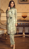 EMBROIDERED CHIFFON FRONT WITH 3D FLOWERS  EMBROIDERED GALA WITH 3D FLOWERS  EMBROIDERED CHIFFON BACK  EMBROIDERED CHIFFON SLEEVES  EMBROIDERED GHERA LACE  EMBROIDERED SLEEVE LACE  EMBROIDERED CHIFFON DUPATTA  EMBROIDERED GRIP SILK TROUSER