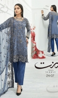 Shirt: - Embroidered and Hand Work Chiffon and Organza Dupatta: - Embroidered Chiffon Trouser: - Dyed Grip Silk with Embroidery and Embroidered Net