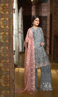 EMBROIDERED CHIFFON FRONT 1 YD WITH 3D FLOWERS EMBROIDERED GALA 1 PC WITH 3D FLOWERS EMBROIDERED CHIFFON BACK 1 YD EMBROIDERED CHIFFON 0.67 YD SLEEVES WITH 3D FLOWERS EMBROIDERED GHERA LACE 2 YDS EMBROIDERED SLEEVE LACE 1 YD EMBROIDERED CHIFFON DUPATTA 2.50 YDS EMBROIDERED GRIP SILK TROUSER 2.5 YDS