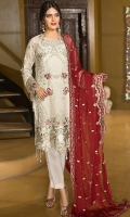 EMBROIDERED CHIFFON FRONT 1 YD EMBROIDERED GALA 1 PC WITH HANDMADE WORK EMBROIDERED CHIFFON BACK 1 YD EMBROIDERED CHIFFON SLEEVES 0.67 YD EMBROIDERED GHERA LACE 2 YDS EMBROIDERED SLEEVE LACE 1 YD EMBROIDERED CHIFFON DUPATTA 2.5 YDS GRIP SILK TROUSER 2.5 YDS
