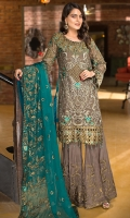EMBROIDERED CHIFFON FRONT 1 YD WITH HANDMADE WORK EMBROIDERED GALA 1 PC WITH H.M WORK EMBROIDERED CHIFFON BACK 1 YD EMBROIDERED CHIFFON SLEEVES 0.67 YD WITH HANDMADE WORK EMBROIDERED GHERA LACE 2 YDS EMBROIDERED SLEEVES LACE 1 YD EMBROIDERED CHIFFON DUPATTA 2.5 YDS  EMBROIDERED GRIP SILK TROUSER 2.5 YDS