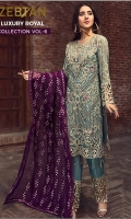 EMBROIDERED CHIFFON FRONT WITH HANDMADE WORK 1 YD EMBROIDERED GALA WITH HANDMADE WORK 1 PC EMBROIDERED CHIFFON BACK 1 YD EMBROIDERED CHIFFON SLEEVES WITH HAND MADE WORK 2 PCS EMBROIDERED GHERA LACE 2 YDS EMBROIDERED SLEEVES LACE 1 YD EMBROIDERED CHIFFON DUPATTA 2.5 YDS GRIP SILK TROUSER 2.5YDS  EMBROIDERED TROUSER LACE 1 YD