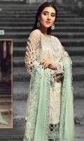 EMBROIDERED CHIFFON FRONT WITH HANDMADE WORK 1 YD EMBROIDERED GALA WITH HANDMADE WORK 1 PC EMBROIDERED CHIFFON BACK 1 YD EMBROIDERED TISSUE SLEEVES WITH CUT WORK 2 PCS EMBROIDERED GHERA LACE 2 YDS EMBROIDERED SLEEVE LACE 1 YD EMBROIDERED CHIFFON DUPATTA 2.5 YDS ZR-02 EMBROIDERED GRIP SILK TROUSER 2.5 YDS