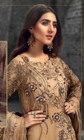 EMBROIDERED CHIFFON FRONT WITH HANDMADE WORK 1 YD EMBROIDERED CHIFFON BACK 1 YD EMBROIDERED CHIFFON SLEEVES 0.67 YD EMBROIDERED GHERA LACE 2 YDS EMBROIDERED SLEEVE LACE 1 YD EMBROIDERED CHIFFON DUPATTA 2.5 YDS EMBROIDERED GRIP SILK TROUSER 2.5 YDS