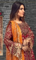 EMBROIDERED CHIFFON FRONT WITH HANDMADE WORK 1 YD EMBROIDERED GALA WITH HANDMADE WORK 1 PC EMBROIDERED CHIFFON BACK 1 YD EMBROIDERED CHIFFON SLEEVES WITH HANDMADE WORK 0.67 YD EMBROIDERED GHERA LACE 2 YDS EMBROIDERED SLEEVE LACE 1 YD EMBROIDERED CHIFFON DUPATTA 2.5 YDS EMBROIDERED NET SHARARA 2.5 YDS GRIP SILK TROUSER 2 .5 YDS
