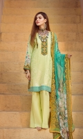 Lawn embroidered front Lawn printed back Lawn printed sleeves Chiffon Printed emboridered Duppata Plain trouser