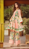 lawn printed front lawn printed back lawn embroidered sleeves Chiffon Printed emboridered Duppata Plain trouser