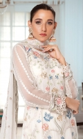 EMBROIDERED CHIFFON FRONT 1 YDS EMBROIDERED CHIFFON BACK 1 YDS EMBROIDERED CHIFFON SLEEVES 0.67 YDS EMBROIDERED GHERA LACE 2 YDS  EMBROIDERED SLEEVES LACE 1 YDS EMBROIDERED CHIFFON FOUR SIDE BODER READY DUPATTA 2.50 YDS  GRIP SILK TROUSER 2 .5 YDS