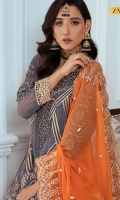 EMBROIDERED CHIFFON FRONT WITH H.M WORK 1 YDS  EMBROIDERED CHIFFON BACK 1 YDS EMBROIDERED CHIFFON SLEEVES 0.67 YDS  EMBROIDERED SLEEVE LACE 1 YDS  EMBROIDERED CHIFFON DUPATTA 2.5 YDS  GRIP SILK TROUSER 2.5 YDS